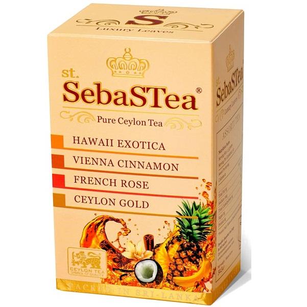 Чай SebaSTea ASSORTI №1 Exotica, Cinnamon, Rose, Ceylon Gold, цейлонский, пакетированный, 20 x 1,5 г