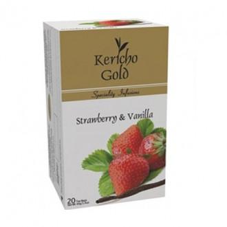 Чай Kericho Gold Strawberry Vanilla Клубника с ванилью - кенийский, пакетированный, 20 х 2 г