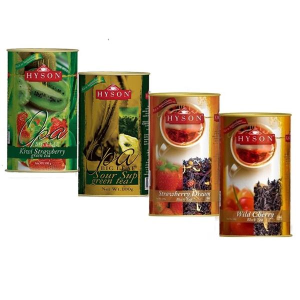 Чай Hyson OPA Teas Collection Киви Клубника, Саусеп, Клубника, Дикая вишня цейлонский, 4 x 100 г
