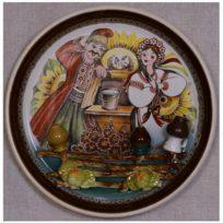 Декоративная тарелка Криниця, глина, ручная роспись, ручная лепка