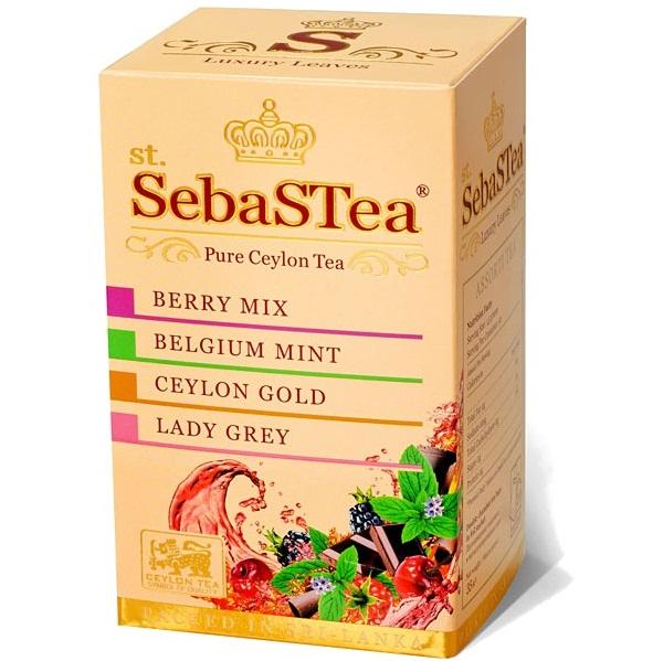Чай SebaSTea ASSORTI №4 Berry, Mint, Ceylon Gold, Lady Grey, цейлонский, пакетированный, 20 x 1,5 г