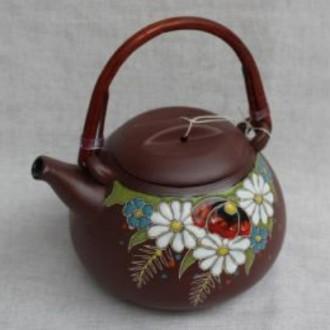 Керамический чайник Полянка с колбой для заварки, емкость 800 мл