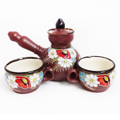 Керамический кофейный набор Полянка на две персоны, емкость 350 мл, 2 х 100 мл