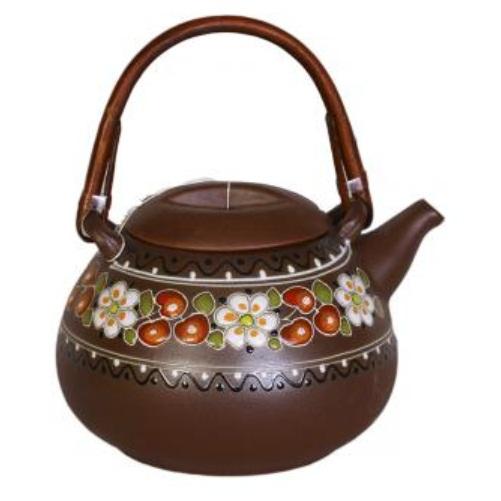 Керамический чайник Ромашка-вишня с колбой для заварки, емкость 800 мл