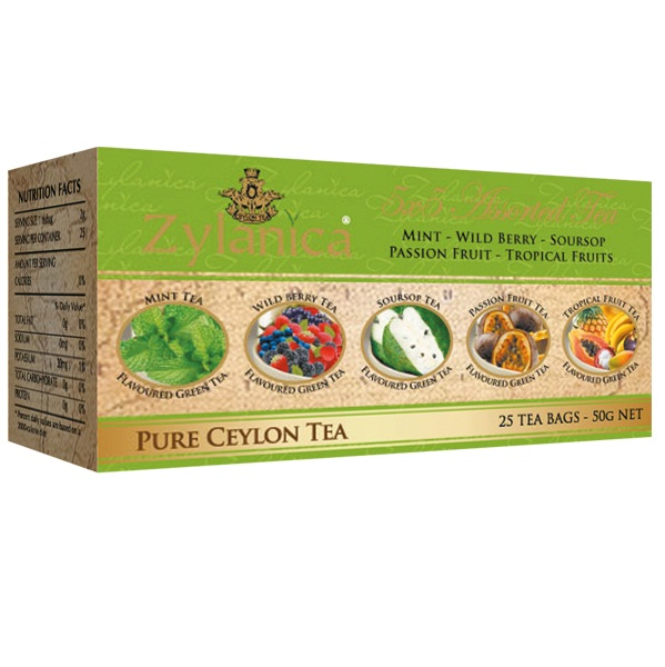Чай Zylanica 5x5 Assorted Green Пять вкусов, цейлонский, 5х5 по 2 г