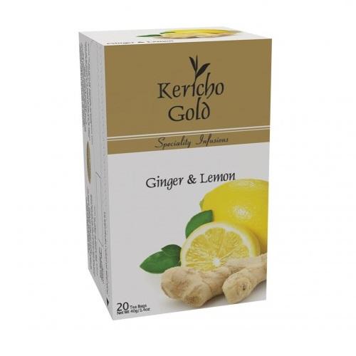 Чай Kericho Gold Ginger, Lemon Имбирь с лимоном, кенийский, пакетированный, 20 х 2 г