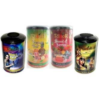 Чай Teasor Collection 2, цейлонский, с кусочками фруктов, лепестками цветов, 4x100 г