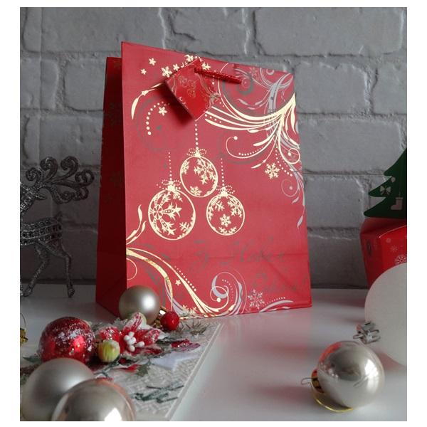 Пакет подарочный Новогодние Шары, размер: 23 х 18 х 10 см