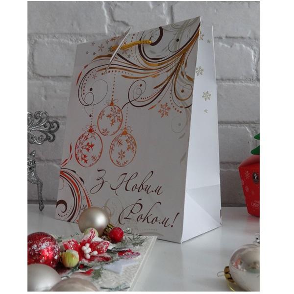 Пакет подарочный Новогодний New Year, размер: 23 х 18 х 10 см