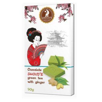 Шоколад SHOUD'E Ginger Зеленый чай с имбирем, белый, Украина, 90 г