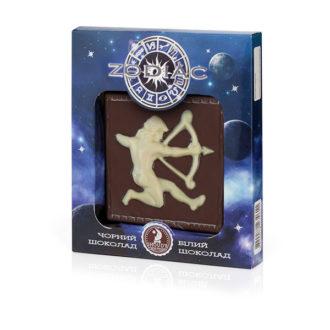 Шоколад SHOUD'E Zodiac Зодиак, Стрелец, черный, белый, 80 г