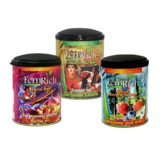 Чай FemRich Magic Collection (Магическая ночь, Клеопатра, Лесные ягоды), цейлонский, 3x75 г, 225 г