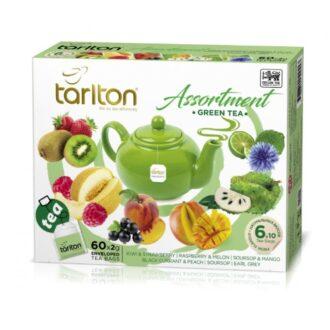 Чай Tarlton Assortment Green Tea (Зеленый Ассорти), цейлонский, пакетированный, 6*10x2 г, 120 г
